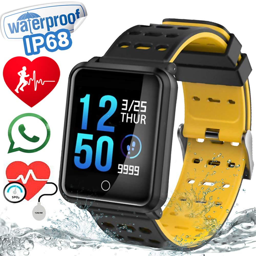 1.3″ TF2 Sport Watch Fitness Tracker Blood Pressure HD Screen Heart Rate Monitor IP68 Waterproof Pedometer Stopwatch Smartwatch for Activity Tracker iOS Android