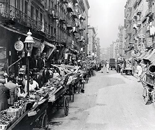 Italian Neighborhood Street Market Mulberry Street New York City Early Rare Reproduction Vintage and Antique Art or Artwork Collection of Old Photos of Cities Like New York or New York City, Boston, Atlantic City, Chicago, Los Angeles, and Other Us Cities.some Colorized, Black and White, Photochromes Rare Pictures of Cities and Towns Across the Us a Old Time Photos to Digital Close to Original Size 8.5 Inches By 11 Inches for Scrap Booking Home Decor or Kitchen Decor. Or Gift Giving and History Research
