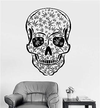 pegatinas de pared 3d infantil Cráneo Weed fumar marihuana cannabis: Amazon.es: Bricolaje y herramientas