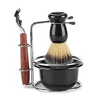 4Pcs Shaving Kit Brush Set with Stainless Steel Brush Stand Holder Safety Razor Shaving Soap Bowl for Men Manual Shaving