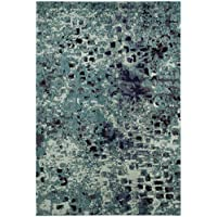 Safavieh Monaco Collection MNC225J Modern Abstract Watercolor Light Blue and Multi Distressed Area Rug (3 x 5)
