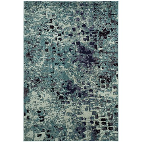 Safavieh Monaco Collection MNC225J Modern Abstract Watercolor Light Blue and Multi Distressed Area Rug (3' x ()