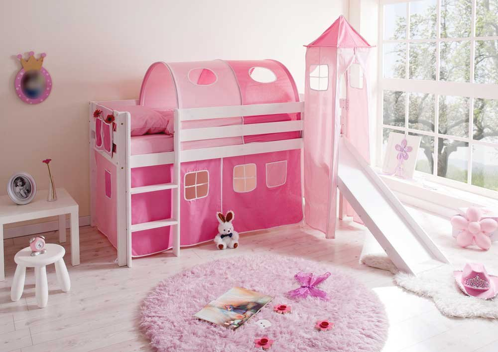 Pharao24 Mädchen Hochbett weiß rosa massiv Pinky