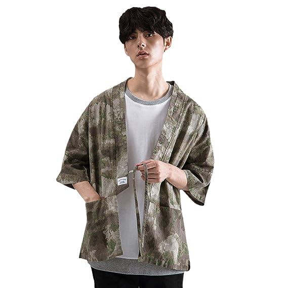 Z Chaqueta Japonesa del Estilo del Kimono del Tamaño Extra Grande De Los Hombres Chaqueta Japonesa Floja del Yukata del Vintage: Amazon.es: Ropa y ...