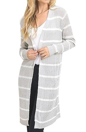 b86e645c98 Beautife Womens Long Sleeve Striped Knit Draped Open Front Long Cardigan  Sweaters