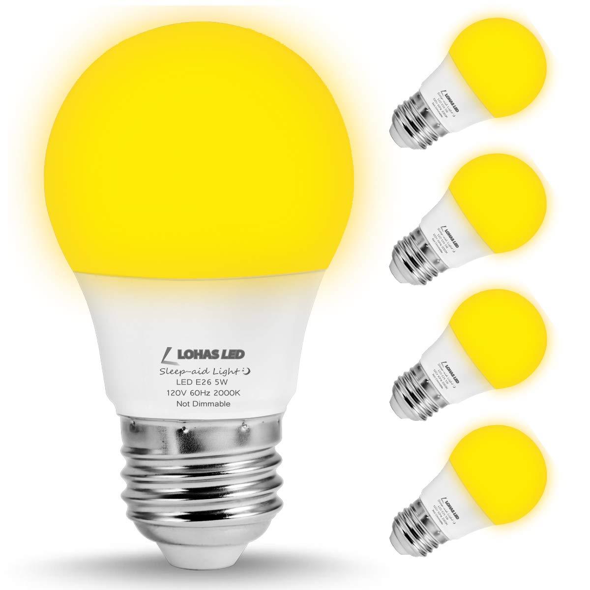 LOHAS Bug Light Bulb Yellow LED Bulbs, Outdoor Porch Lights, Amber Bedroom Night Light Bulb A15 Bugs Free Bulbs, 40W Equivalent E26 Edison Bulb(5W), Warm LEDs Hallway Lighting Decorative Lamps(4 Pack)
