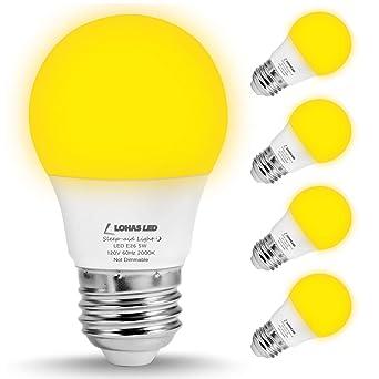 Lohas LED A15 bombilla, amarillo Bug LED bombillas, 40 W equivalente bombilla Edison E26 (5 W), ...