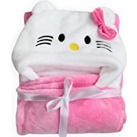 BRANDONN Newborn 3-in-1 Wrapper/Baby Blanket/Bathgown Baby Bath Towel (Pink)