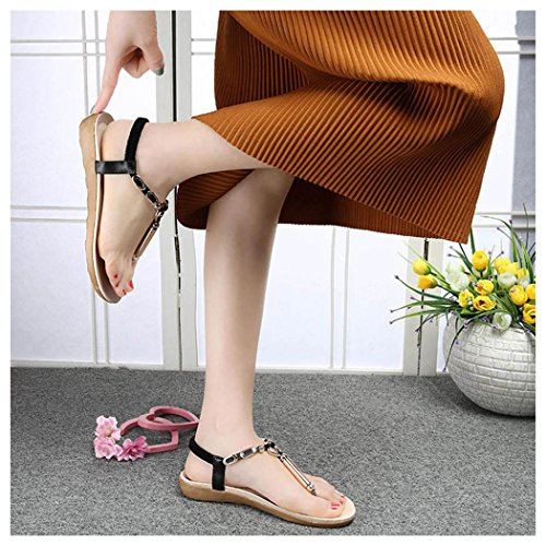 Summer Sandals, Inkach Women Flat Sandals Bead Bohemia Peep Toe Flip Flops Sandals Black