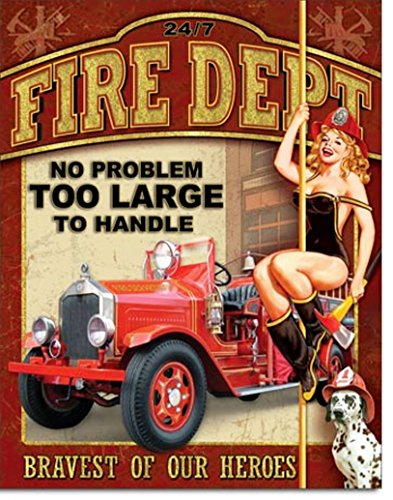Fire Dept Bravest Of Our Heroes No Problem Too Large Tin Collectible Sign Gift - Fire Dept Tin Sign