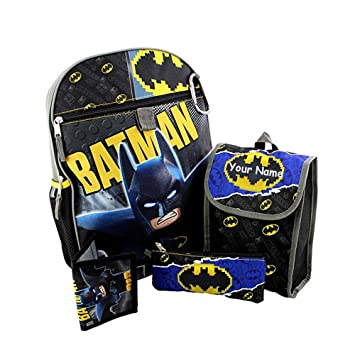 acad78b579d2 Amazon.com  Personalized DC Comics Lego Batman Backpack Book Bag  Accessories and Lunch Bag with Wallet for Back to School - 5 Piece Set   Knextion Inc.