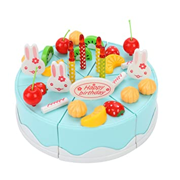 Sbarden Birthday Cake Toy 38 Pcs DIY Cutting Fruit Food Play Suit For Childrens Day Gift Amazoncouk Toys Games
