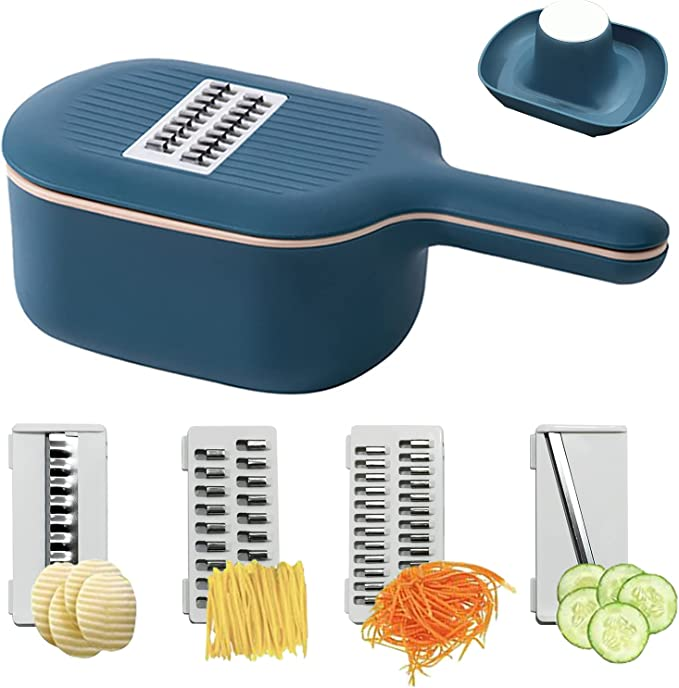 Amazon.com: Vegetable Chopper Slicer, Mandoline Slicer Multifunction 4 Replaceable Blades Food Choppers Cutter Dicers with Container for Cabbage, Carrot, Potato, Tomato, Fruit: Kitchen & Dining