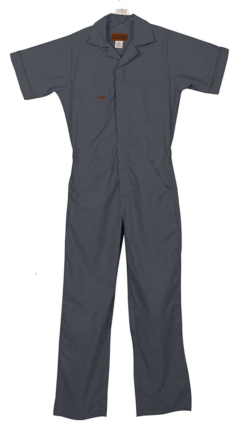 d071fe012fbc Amazon.com  Five Rock Poplin Short Sleeve Unlined Coveralls Relaxed Fit   Overalls And Coveralls Workwear Apparel  Clothing