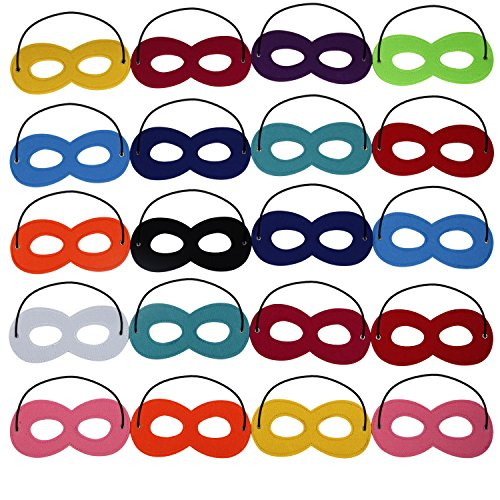 Superhero Masks Halloween Mask Cosplay Party Eye Mask Felt Mask Kids Face Masks with Elastic, 20pcs (Superhero Halloween)