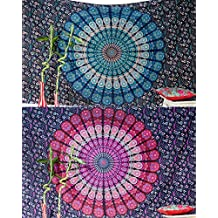 Set of 2 Bohemian Mandala Tapestry Wall Hanging Hippie Indian Mandala Blanket Throw Table Cover or Tablecloth Beach Towel Meditation Yoga Mat Tapestry - Twin Size - 55x85, Blue and Pink Boho Spread