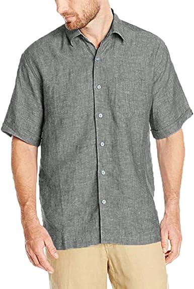 Camisa Cubana de Lino para Hombre, Manga Corta, Ajuste Regular, no Necesita Planchado, Camisa de Lino, Camisa de enfriamiento, Cuello Abotonado - Beige - X-Large: Amazon.es: Ropa y accesorios