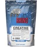 Hard Rhino Creatine Monohydrate Micronized Powder, 500 Grams (1.1 Lbs), Unflavored, Lab-Tested, Scoop Included
