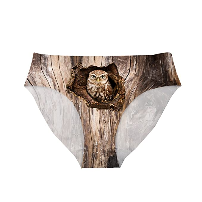 20888358efa Image Unavailable. Image not available for. Color: Dellukee Funny Underwear  for Women Cute Owl Print Breathable Hipster Panty Briefs
