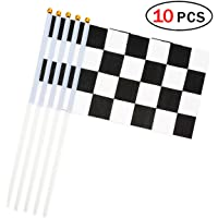 Black and White Lattice Racing Stick Flag 5.5 x 8.3 Inch Small Hand Held Flag of 10 PCS Mini Checkered Flags