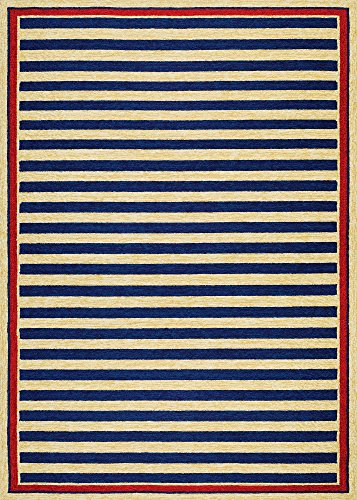 Couristan Covington Collection Nautical Stripes Rug, Navy/Red, 2 by (Covington Collection)