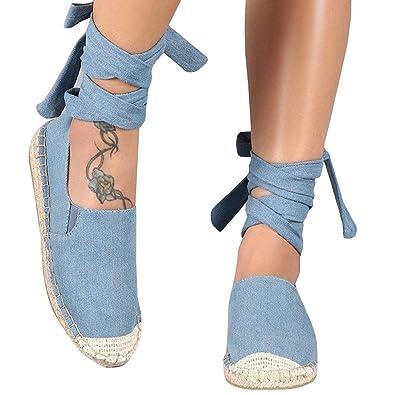 8b2dc7336 Syktkmx Womens Lace Up Espadrilles Flat Loafers Slip on Cap Toe Ankle Wrap Cute  Shoes Blue