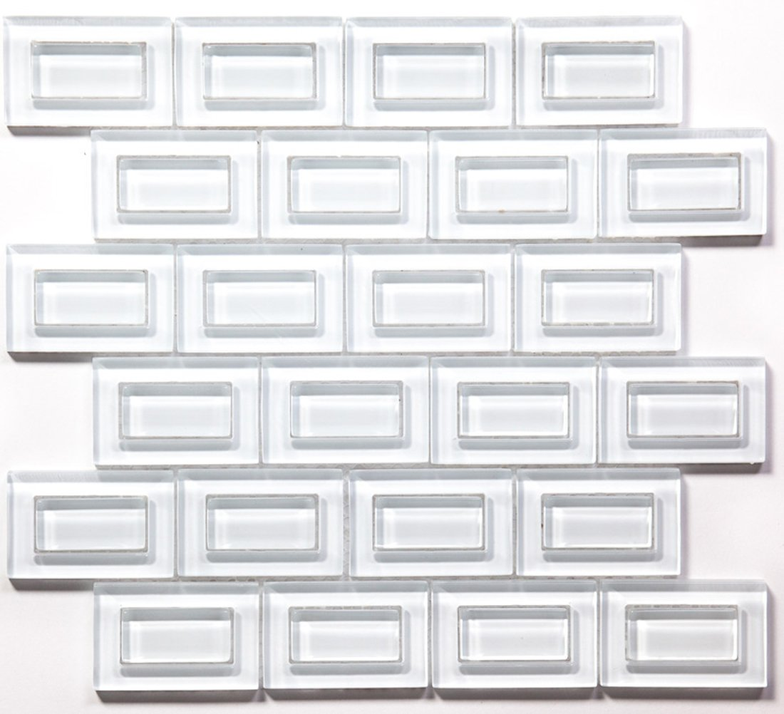 Super White Inside/Out Water Jet Mosaic Glass Tile / 11 sq ft