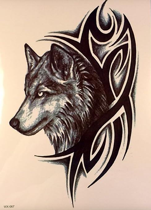 Tatouage Tribal Et Loup Noir Tatouages Temporaires Pour Haut Du Bras Et Le Corps Wx067 Amazon Fr Hygiasne Et Soins Du Corps