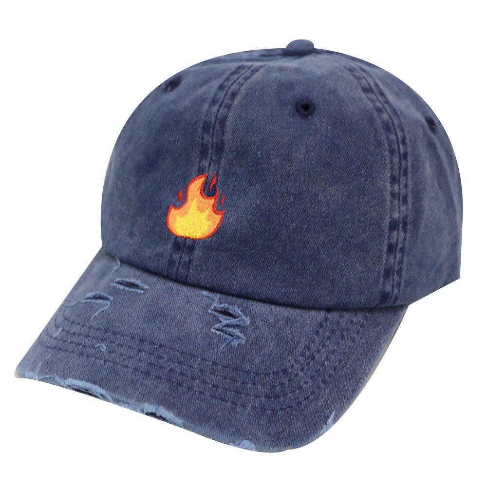 City Hunter C104 Fire Cotton Baseball Dad Cap 18 Colors (Vintage Blue)
