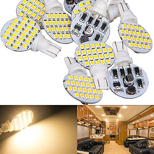 10 x Super Bright T10 921 194 Warm White 4.8w RV,Trailer,Camper Interior 24-3528 SMD Boat,landscaping,Wedge LED Light Bulb lamp DC 12V (Pack of 10, Come with extra 1piece of 2nd Generation Bulbs)