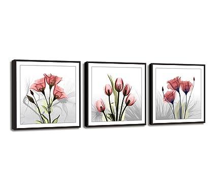Amazoncom Moyedecor Art 3 Panels Wall Art Flowers Paintings The