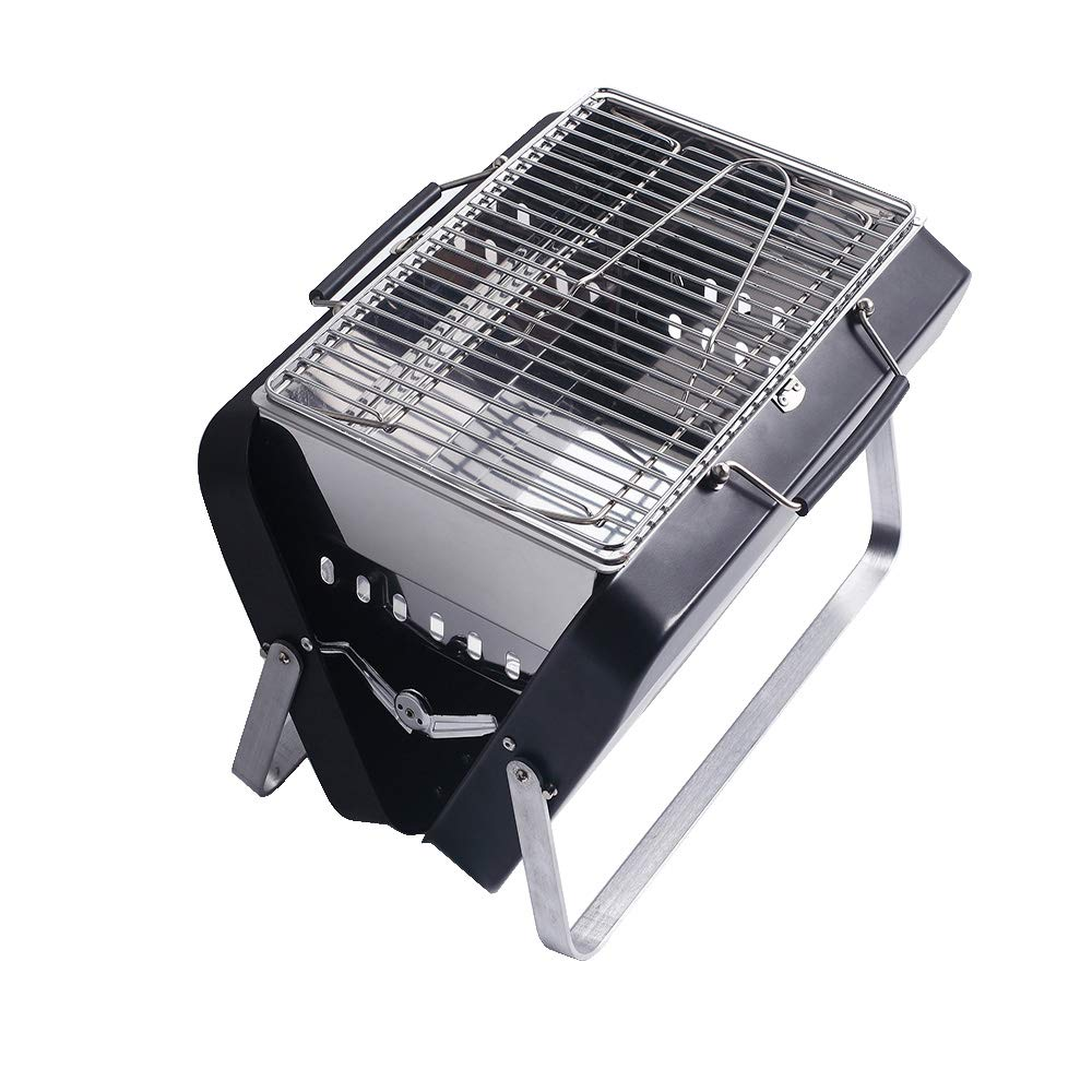 Sougem Portable Charcoal Grill Folding Barbecue Outdoor Cooking Picnics Tailgating Backpacking BBQ Tools,Small Size,Black