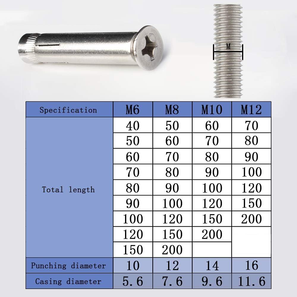 DAZISEN M10 Thread Expansion Bolt Sleeve Anchor 4pcs,Stainless Steel Phillips Head Expansion Screw