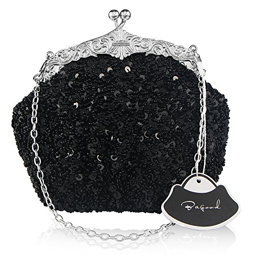 Sequins Clutch Evening Party Bag (Black) - 8