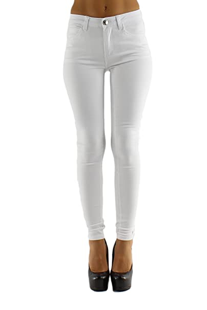 WOMENS LADIES WHITE LOW WAIST STRETCHY SKINNY DENIM JEANS JEGGINGS PANTS UK 6-14