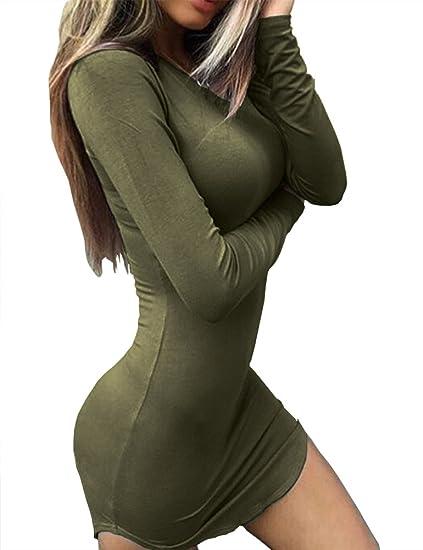 37f42b8d915a Haola Women's Sexy Bodycon Tight Long Sleeve Mini T Shirts Dresses  Irregular Hem S ArmyGreen