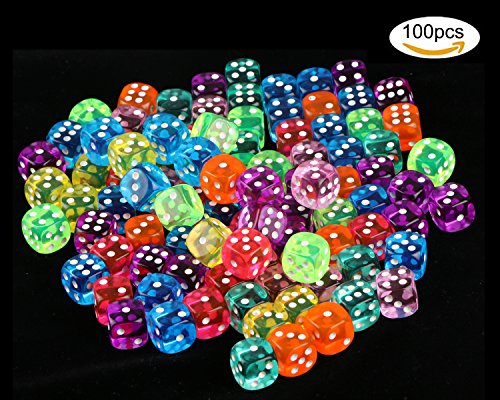 100 Pcs Translucent Colors 6-Sided Games Dice Set, 14 mm Round Corner Dice for Playing Games, Like Board Games, Dice Games, Math Games, Party Favors, Toy Gifts or Teaching Kids Math by unime