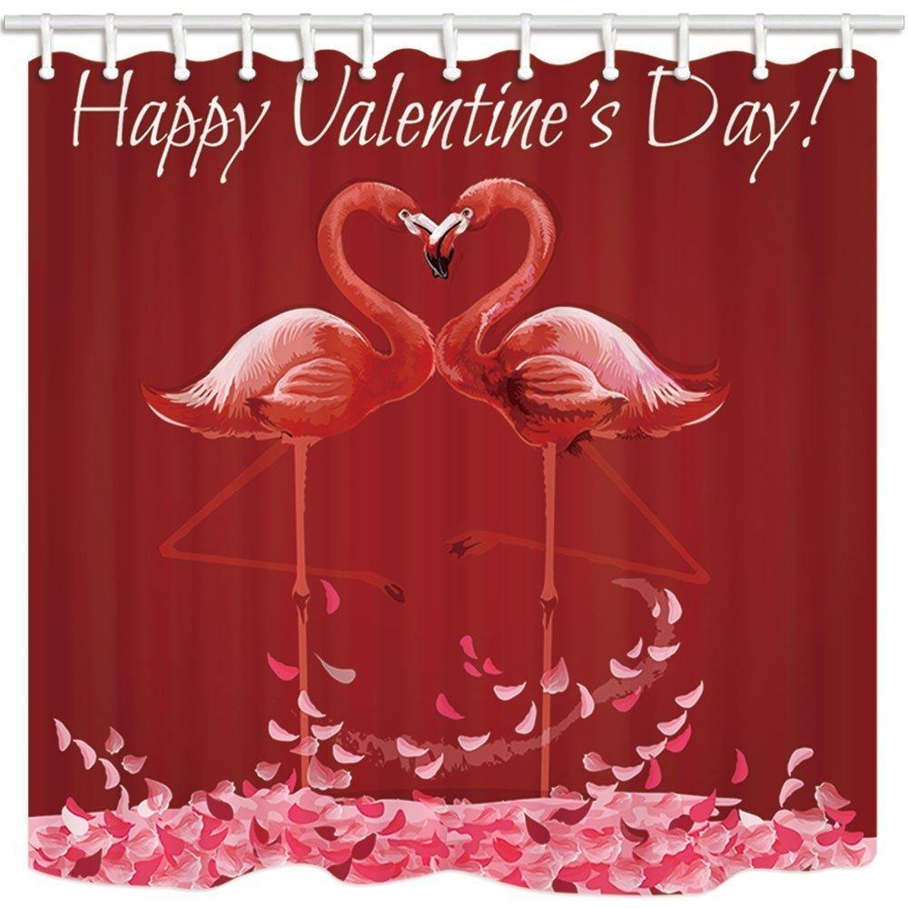 GuoEY Exotische Rosa Vögel Badewanne Vorhang Flamingo Liebe Herz ...