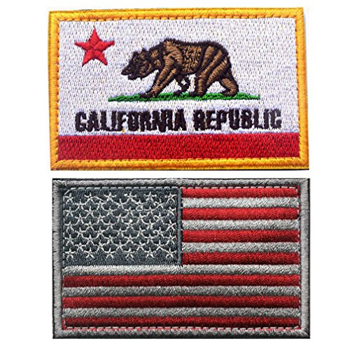 Embroidered USA Flag and CALIFORNIA Flag Velcro Patch