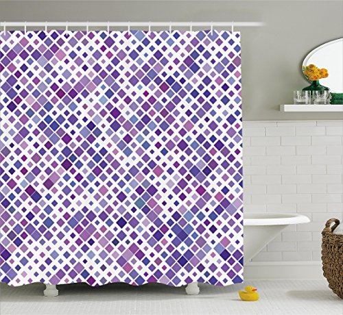 Purple Fabric Curtain (Lavender Shower Curtain Set by Ambesonne, Purple Retro Mosaic Creative Pattern Square Rhythm Abstract Art Print Design, Fabric Bathroom Decor with Hooks, 70 Inches, Violet Purple White)