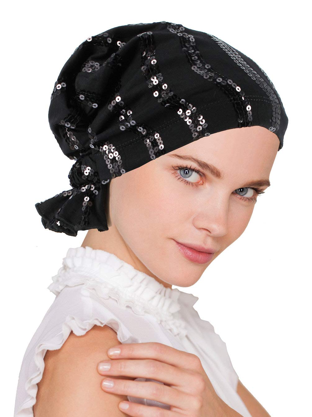 Abbey Cap Womens Chemo Hat Beanie Scarf Turban Headwear for Cancer Cotton Sequin Black
