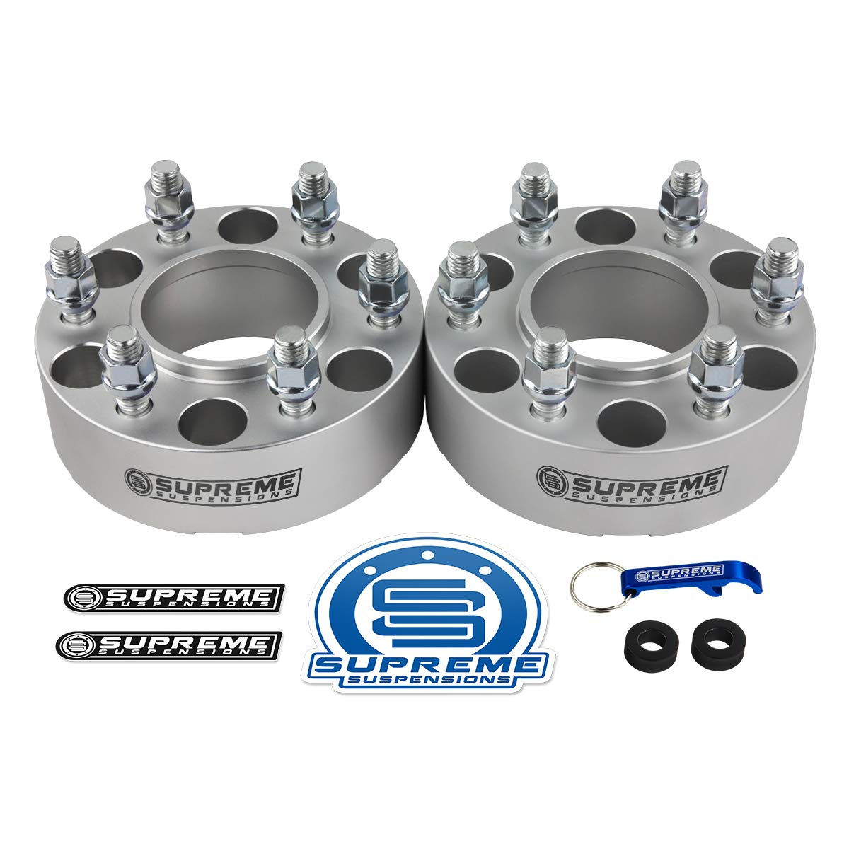2pc Silver M14x2 Studs 2004-2014 Ford F150 1.5 Hub Centric Wheel Spacers 6x135mm with Lip Supreme Suspensions -