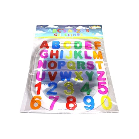 Abc's & 123's Gel Clings - 36 Piece Window Gel Clings Toy - Numbers and  Alphabet Letters - Great for Travel on Planes, Birthday Parties, Cars or at