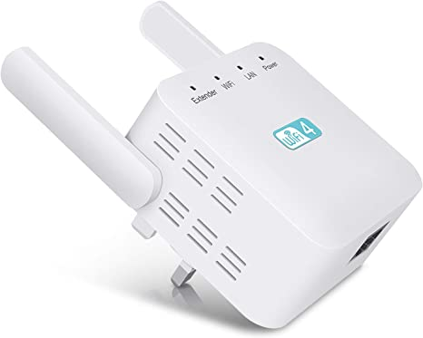 2.4GHz AP Compatible with All Routers,UK Plug Getue Wifi Booster Wireless WiFi Extender Booster WiFi Range Extender with 2 External Antennas 300Mbps