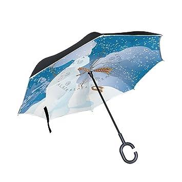 4689da54d588 Amazon.com : ALAZA Double Layer Inverted Snowmen Umbrella Cars ...