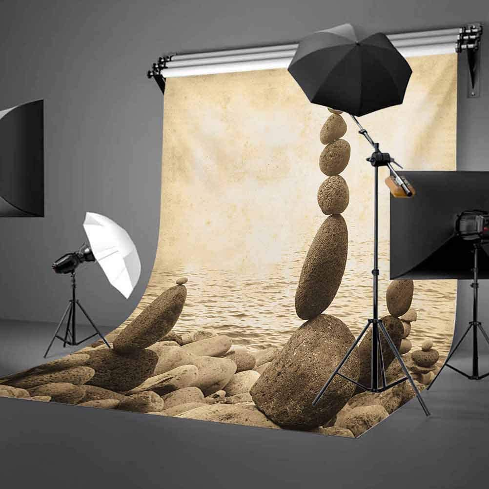 Ocean 6.5x10 FT Backdrop Photographers,Coastal Shore Calm Water Zen Print Sepia Big and Small Rocks Pebbles Grunge Artsy Background for Baby Birthday Party Wedding Vinyl Studio Props Photography