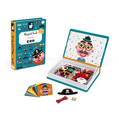 Janod Magnetibook 83 Pc Magnetic Boy Crazy Face Dress Up Game for Imagination Play - Book Shaped Travel/ Storage Case Included - S.T.E.M. Toy for Ages 3+: Toys & Games