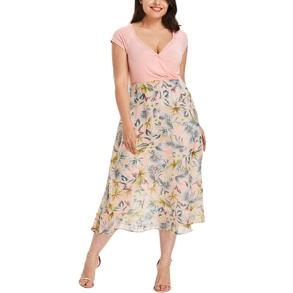Women Dress Daoroka Ladies Sexy V-Neck Plus Size Floral Casual Loose Maxi Evening Party Boho Beach Skater Skirt (XL, Pink)