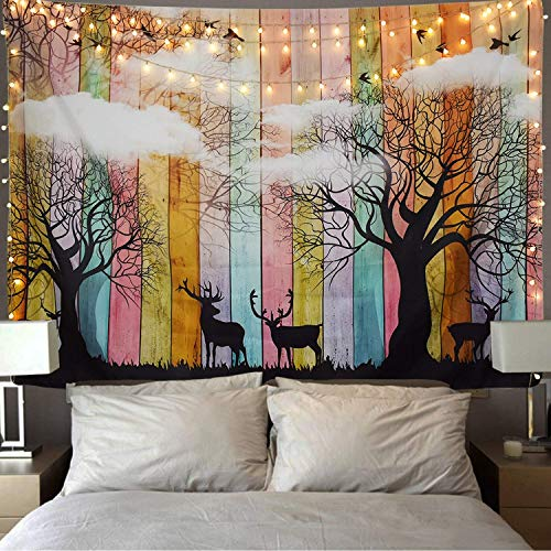 Nature Tapestry Wall Hanging Deer Tapestry Trees and White Cloud Tapestry Mandala Tapestry Bohemian Tapestry Hippie Tapestry Indian Dorm Decor Popular Tapestry for Bedroom Living Room Dorms