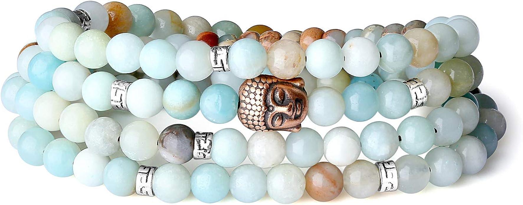 Lava Stone and Cracked Black Agate Buddha Charm stretch Yoga Boho Meditation bracelet